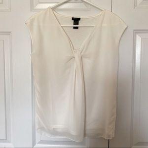 Ann Taylor Sleeveless Chiffon Blouse Off White